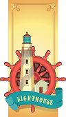 image of marines  - Marine emblem lighthouse on the background of the wheel to the extended height card in retro style - JPG