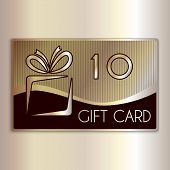 Vector abstract gift card for ten in gold and beige colors