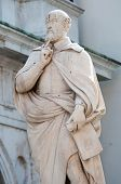 pic of vicenza  - The statue of the famous Italian architect of the Renaissance Andrea Palladio placed by the Basilica palladiana in Vicenza - JPG