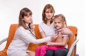Pediatrician Listening Stethoscope Breast Girl Sitting On Mothers Hands