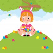 Happy Children In Rabbit Costume For Easter Holiday