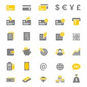 Finance and banking silhouette vector icon set