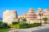 Ruined Tower And Stone Walls Around Nessebar, Bulgaria