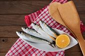 Sardines on white plate