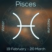 Zodiac Sign - Pisces. White Line Astrological Symbol With Caption, Dates, Planet And Element