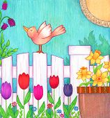 picture of bird fence  - Decorative and colorful illustration of a bird standing on a white fence with spring flowers around it - JPG