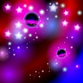 Abstract background space with stars. Bright and contemporary card desig.  Vector