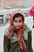 Jodhpur, India - January 2, 2015: Portrait Of Indian Girl In A Village In Jodhpur, India.