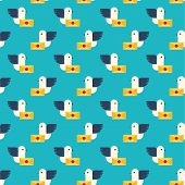 pic of telegram  - Seamless pattern with pigeon and letter vector background - JPG