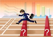 Businessman run and jump over obstacles to success line