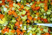 Salad Preparation Background With Cucumber, Egg, Potato,carrot