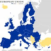 European Union Countries Political Map Outline