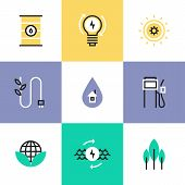 Green Energy And Electricity Pictogram Icons Set