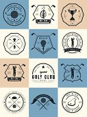 Vector Set Of Icons Golf Clubs
