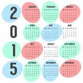 retro calendar of 2015 year with colored ellipses