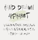 stock photo of hand alphabet  - Hand drawn alphabet in retro style - JPG