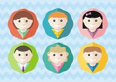 Set of round avatars different boys and girls