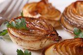 Delicious Caramelized Onion On A White Plate Macro. Horizontal