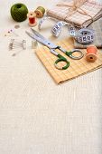 Copyspace frame with sewing tools and accesories