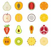 stock photo of orange  - Vector fruit icon set  - JPG
