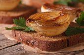 Open Sandwich With Caramelized Onions Macro Horizontal