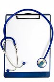 Stethoscope Wrapped Around Clipboard And Blank Paper