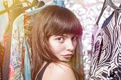 Perky Teenage Girl And Her Wardrobe, Toned Image, Bokeh, Light Leak
