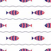 Seamless nautical pattern with fish.