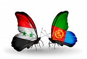 foto of eritrea  - Two butterflies with flags on wings as symbol of relations Syria and Eritrea - JPG