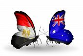 Two Butterflies With Flags On Wings As Symbol Of Relations Egypt And Australia