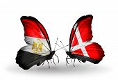 Two Butterflies With Flags On Wings As Symbol Of Relations Egypt And Denmark