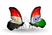 Two Butterflies With Flags On Wings As Symbol Of Relations Egypt And India