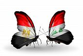 Two Butterflies With Flags On Wings As Symbol Of Relations Egypt And Iraq