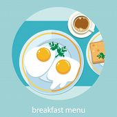 stock photo of morning  - Breakfast set top view - JPG