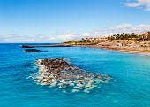 stock photo of canary  - Picturesque El Duque beach in Costa Adeje - JPG