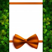 Saint Patricks Day Vector Background, Realistic Shamrock Leaves And Orange Bow, Invitation, Greeting