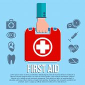 stock photo of first aid  - First aid kit concept with hand holding medicine chest with cross and healthcare icons flat vector illustration - JPG