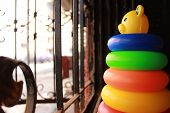 Conceptual picture of Stacking ring toy facing window
