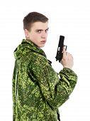 Military Man With Gun