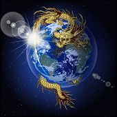 Chinese Dragon Holding Planet Earth