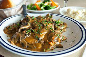 stock photo of marsala  - Chicken marsala dish with mashed potatoes and veg - JPG