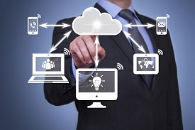 foto of network  - Pushing cloud computing button on touch screen solution ideas communication computer network - JPG