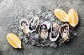 foto of pearl-oyster  - Opened Oysters on stone plate with ice and lemon - JPG