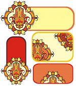 image of hamsa  - Vector hamsa hand set with ethnic ornaments - JPG