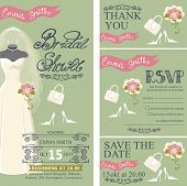 stock photo of dress mannequin  - Bridal shower invitation set - JPG