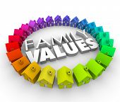 foto of morals  - Family Values word in 3d letters surrounded by a circle of colorful houses or homes in a community - JPG