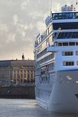 stock photo of bordeaux  - Big cruise ship in the port of Bordeaux France - JPG