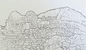 picture of chapels  - Ink drawing of the byzantine chapel at ancient Thira Santorini Greece - JPG