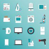 foto of food processor  - Big set  modern flat design icons of home appliances - JPG
