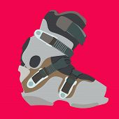 stock photo of ski boots  - Snowboard carving boot in gray color  - JPG